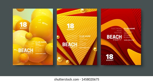 Electronic music festival ads poster. Modern club beach party invitation. Vector illustration. Abstract dynamic spheres and layered paper shapes decorations. Dance music event cover. Brochure template