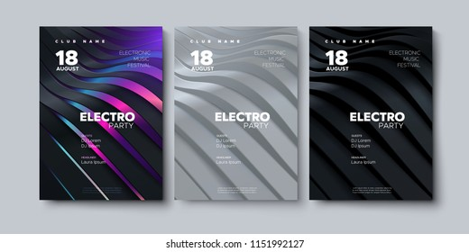 Electronic music festival advertising poster. Modern club electro party invitation. Vector illustration with 3d abstract ribbon background. Dance music event cover