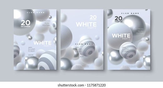 Electronic music festival advertising poster. Modern club white party invitation. Vector illustration with 3d abstract spheres. Dynamic bouncing white and silver balls. Dance music event cover