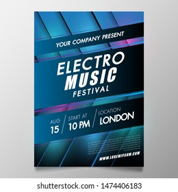 Electronic Music festival and club party Covers poster with abstract gradient lines.Vector template design for flyer, presentation, brochure, Pop-up.