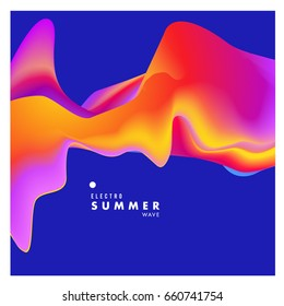 Electronic music festival and electric summer wave poster. Club party Poster design and event. Abstract gradients flux effect and waves music background.