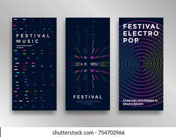 Electronic music festival minimal poster design. Modern colorful dotted lines background for flyer, cover. Vector illustration