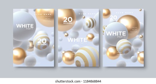 Electronic music festival. Modern posters design. White party flyer. Abstract background with 3d spheres. Vector illustration of flowing balls or particles. Club invitation template.