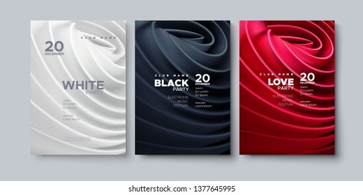 Electronic music festival. Modern posters design. White party invitation. Black party banner. Abstract background with rolled cloth shapes. Vector illustration. Club promotion sign template.