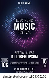 Electronic music festival. Party flyer. Stylish purple and blue glittering halftone banner. Glowing vibrant ring. Text decoration. Club and DJ name. Vector illustration. EPS 10.