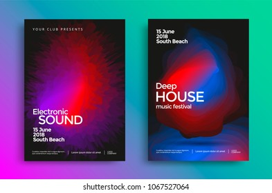 Electronic music festival poster with abstract gradient shapes. Vector template design for flyer, presentation, brochure.