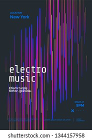 Electronic music festival poster with abstract gradient lines. Cover design Electro sound fest. Vector template design for flyer