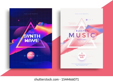 Electronic Music festival poster with abstract gradient shape and decoration elements. Synthwave party Flyer in vaporwave style design.