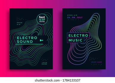 Electronic Music festival poster with abstract gradient line and decoration elements. Modern club party flyer. Sound cover design with neon colors.