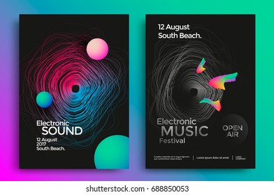Electronic music festival poster with abstract gradient lines. Vector template design for flyer, presentation, brochure.