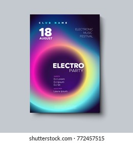 Electronic music festival poster design. Electro party flyer. Fluid neon color cover. Vector illustration of abstract gradient liquid shape. Club invitation template. Modern design