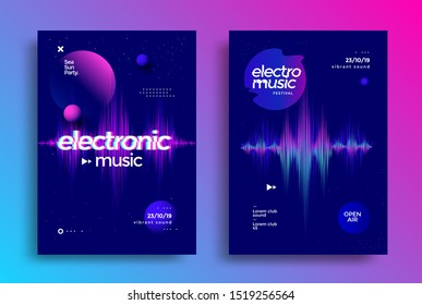 Electronic music festival poster with distorted equalizer . Cover design Electro beat fest. Musical party flyer with glitch effect and gradient shapes. Dynamic colorful sound wave.