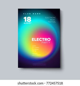 Electronic music festival poster. Electro dj party flyer. Fluid neon blended color cover. Vector illustration of abstract gradient liquid shape. Club invitation template. Modern design. Abstract sound