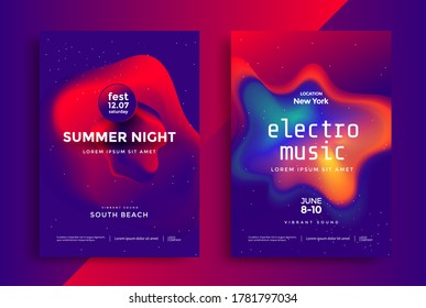 Electronic music festival poster illustrated in duotone. Cover design Electro sound fest with red and blue color shapes. Vector template design for flyer