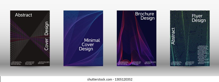Electronic music festival poster. Minimal vector cover design with abstract gradient linear waves. Vector sound flyer for creating a fashionable abstract cover, banner, poster, booklet.