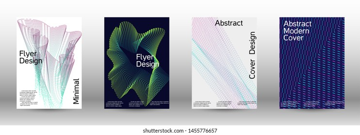 Electronic music festival poster. A set of modern abstract backgrounds with abstract gradient linear waves. Sound flyer for creating a fashionable abstract cover, banner, poster, booklet.