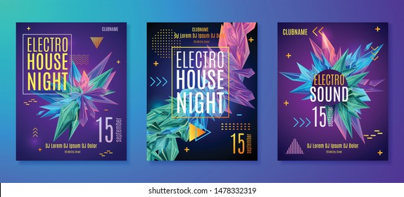 Electronic music party poster. Electro house club fest flyer. Colorful faceted crystals. Vector abstract music sound background.