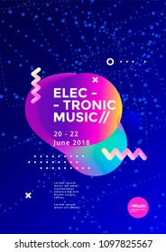 Electronic Music poster design. Sound flyer with abstract geometric shape. Vector template