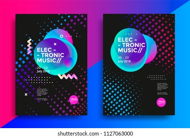 Electronic Music poster design. Sound flyer with modern geometric shape. Vector template