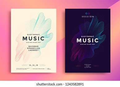 Electronic Music poster design. Sound flyer with abstract gradient dotted shapes. Circle of particles waves.