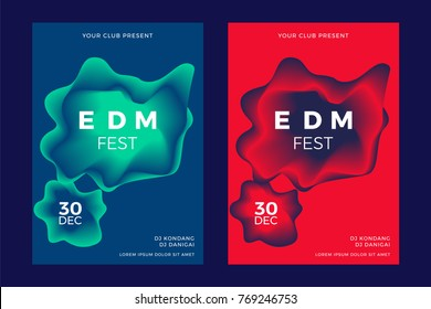 Electronic Music poster, duo tone abstract background.