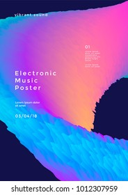 Electronic music poster with gradient wave. Modern club party flyer. Abstract vibrant sound background.