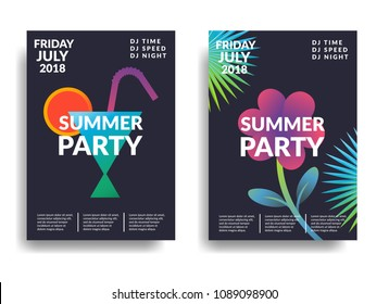 Electronic music poster. Modern club party flyer. Abstract gradients music background. Summer fest  vectorcover