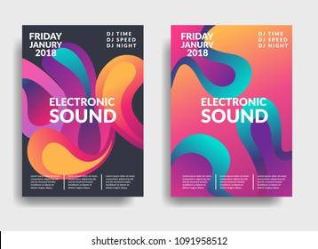 Electronic music poster. Modern club party flyer. Abstract gradients music background. Summer fest  vector cover