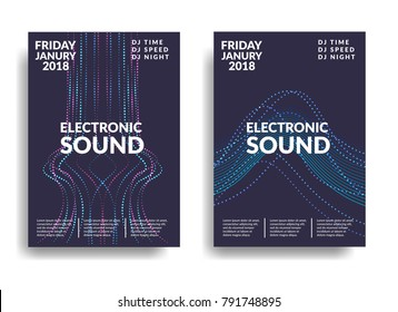 Electronic music poster. Modern club party flyer. Abstract gradients music background. Music fest cover