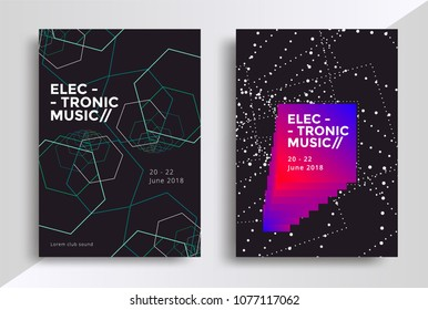 Electronic Music posters design. Sound flyer with abstract geometric line shapes. Vector template