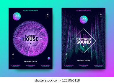 Electronic Music Posters. Trance Music Festival Promotion. Vector Wave Sound Amplitude Design. Abstract Sound Poster for Dj Performance. Equalizer of Distorted Dotted Lines. Movement of Waves Poster.