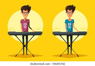Electronic music Synthesizer instrument. Cartoon vector illustration