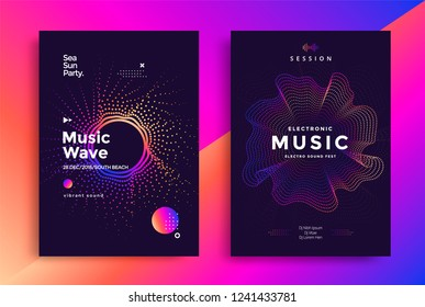 Electronic Music wave poster design. Sound flyer with abstract gradient dotted waves.