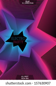 Electronic Neon Party Poster Background Template - Vector Illustration