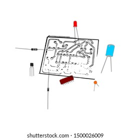 electronic part ready to assembly, including capacitor, transistor, IC, LED, resistor, diode and printing circuit diagram (PCB). this electronic part vector can use as education