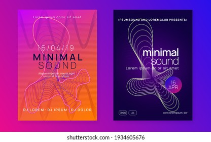Electronic party. Cool show banner set. Dynamic fluid shape and line. Neon electronic party flyer. Electro dance music. Techno fest event. Trance sound. Club dj poster.