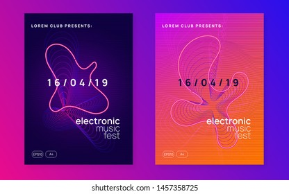 Electronic party. Dynamic fluid shape and line. Bright concert invitation set. Neon electronic party flyer. Electro dance music. Techno fest event. Trance sound. Club dj poster.