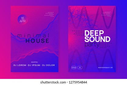 Electronic party. Dynamic gradient shape and line. Modern concert invitation set. Neon electronic party flyer. Electro dance music. Techno fest event. Trance sound. Club dj poster.