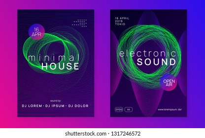 Electronic party. Energy concert invitation set. Dynamic gradient shape and line. Neon electronic party flyer. Electro dance music. Techno fest event. Trance sound. Club dj poster.