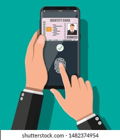 Electronic password. Password and fingerprint security authorization. Hand with smartphone id card application. Access control machine, time attendance. Proximity card reader. Flat vector illustration