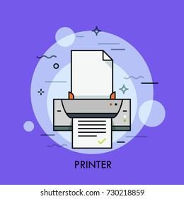 Electronic printer, hardware device for paper document or photo reproduction. Concept of digital, dot matrix and inkjet printing. Colorful vector illustration for web banner, website, advertisement.