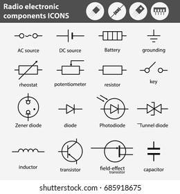 Electronic and radio components vector icon set in flat style