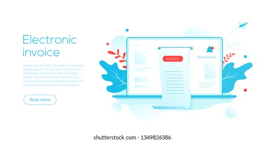 Electronic receipt or invoice in flat vector illustration. Digital bill for mobile internet banking concept. Online transaction via smartphone. Website or webpage layout template.
