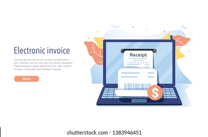 Electronic receipt or invoice in flat vector illustration. Digital bill for mobile internet banking concept. Online transaction via smartphone. Website or webpage layout template. Financial app.