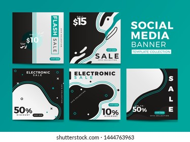 Electronic Sale Social Media Banner Template Collection with Fluid Style