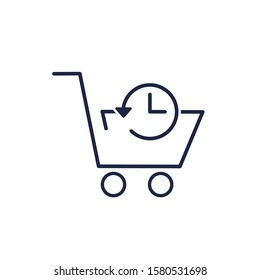Electronic shop.Purchase history . Vector linear icon on a white background.