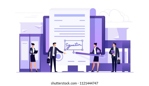 Electronic signature. Business concept of contracting online. Businessmen make an online deal. Template banner design in a flat style. Vector illustration.