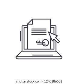 Electronic signature of the contract line icon concept. Electronic signature of the contract vector linear illustration, symbol, sign