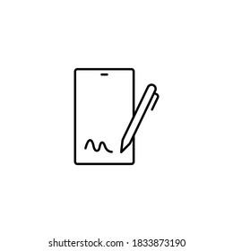 Electronic signature, digital signature simple thin line icon vector illustration