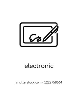 electronic signature icon. Trendy modern flat linear vector electronic signature icon on white background from thin line Electronic devices collection, editable outline stroke vector illustration